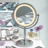 Symple Stuff Halo Lighted Tabletop Vanity MirrorMetal in Gray, Size 15.0 H x 10.75 W x 6.25 D in   Wayfair SYPL3592 42664823