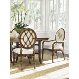 Tommy Bahama Home Bali Hai Upholstered Dining Arm Chair Upholstered/Wicker/Rattan/Genuine Leather in Brown, Size 40.75 H x 25.5 W x 25.25 D in