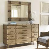 Tommy Bahama Home Twin Palms 12 Drawer Dresser w/ Mirror Wood in Brown, Size 40.25 H x 68.0 W x 20.0 D in | Wayfair