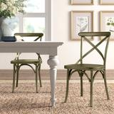 Williston Forge Elrosa Cross Back Stacking Side Chair in Green, Size 35.0 H x 19.0 W x 20.5 D in   Wayfair 0323F6B5EC5C46FF9167A64A270D7A44