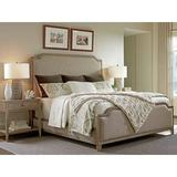 Tommy Bahama Home Cypress Point Solid Wood & Upholstered Low Profile Standard Bed Wood & Upholstered/Upholstered/Linen/Linen Blend in Brown/Gray
