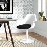 Ivy Bronx Chong Upholstered Arm Chair Plastic/Acrylic/Upholstered in White, Size 34.0 H x 27.0 W x 24.0 D in   Wayfair WADL9925 32928980