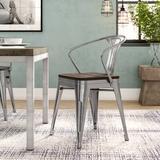 Williston Forge Ashlyn Arm Chair w/ Slat BackMetal in Brown/Gray, Size 31.0 H x 20.0 W x 20.0 D in   Wayfair WLFR1638 39471453
