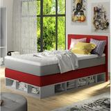 Zoomie Kids Extra Long Twin Platform Bed w/ Mattress Upholste/Polyester/Polyester blend in Red, Size 49.6 W x 81.4 D in   Wayfair ZMIE5939 43411759
