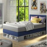 Zoomie Kids Extra Long Twin Platform Bed w/ Mattress Upholstered/Polyester/Polyester blend in Blue, Size 49.6 W x 81.4 D in   Wayfair