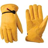 Men's Leather Work Gloves with Adjustable Wrist, Extra Large (Wells Lamont 1132XL)