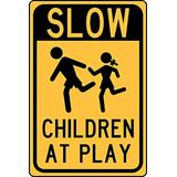 HY-KO Products HW-47 Slow Children Aluminum Sign, 12 in x 18 in, Black/Yellow