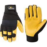 Men's Deerskin Leather Palm Hybrid Work Gloves, Extra Large (Wells Lamont 3210) , Black , X-Large - 3210XL