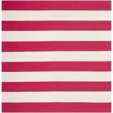 Beachcrest Home™ Brookvale Striped Hand-Woven Cotton Red/White Area Rug Cotton in Brown/Red/White, Size 72.0 W x 0.25 D in   Wayfair