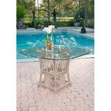 Bayou Breeze Moonsu Dining TableGlass/Wicker/Rattan in Blue/Brown, Size 29.0 H x 48.0 W x 48.0 D in | Wayfair BBZE4191 43998644