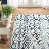 Latitude Run® Lumsden Geometric Handmade Tufted Wool Ivory/Navy Area Rug Wool in Blue/Brown/Navy, Size 144.0 H x 108.0 W x 0.25 D in   Wayfair