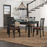 Beachcrest Home™ Langwater 5 - Piece Rubberwood Solid Wood Dining Set Wood/Upholstered Chairs in Brown/White, Size 30.0 H x 42.0 W x 42.0 D in