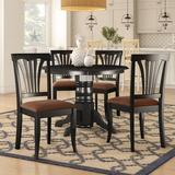 Beachcrest Home™ Langwater 5 - Piece Rubberwood Solid Wood Dining Set Wood/Upholstered Chairs in Black/Brown, Size 30.0 H in   Wayfair