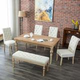 Alcott Hill® Mcneese 6 - Person Dining Set Wood/Upholstered Chairs in Brown, Size 30.0 H in | Wayfair BGRS2119 42395443