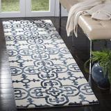 Birch Lane™ Lumsden Geometric Handmade Wool Ivory/Navy Area RugWool in Blue/Brown, Size 144.0 H x 27.0 W x 0.25 D in   Wayfair