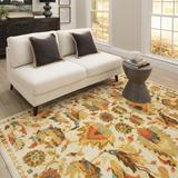 Bungalow Rose Barkhampstead Floral/Oriental Gold/Orange Area Rug Polyester in Brown/Orange, Size 120.0 H x 96.0 W x 0.31 D in | Wayfair