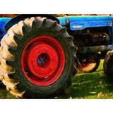 """August Grove® Mccurry 'Farm Tractor Close Up' by Graffitee Studios Photographic Print on Canvas, Canvas & Fabric in Brown/Blue, Size Small 18""""-24"""""""