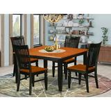 August Grove® Pilning Butterfly Leaf Solid Wood Dining Set Wood in Black/Brown, Size 30.0 H in | Wayfair AGTG6445 44326606