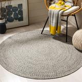 August Grove® Round Paulina Handwoven Flatweave Cotton Ivory/Steel Grey Area Rug Cotton in Brown/Gray/White, Size 72.0 H x 72.0 W x 0.25 D in