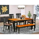 August Grove® Cleobury 6 - Piece Butterfly Leaf Rubberwood Solid Wood Dining SetWood/Upholstered Chairs in Black/Brown | Wayfair AGTG6516 44326803