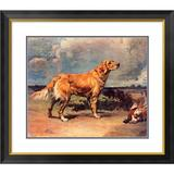 Global Gallery 'Golden Retriever' by Maud Earl Picture Frame Print Paper in Blue/Brown/Green, Size 23.53 H x 26.25 W x 1.5 D in | Wayfair