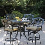 Alcott Hill® Thompsontown 5 Piece Bar Height Dining Set w/ Cushions Metal in Brown, Size 38.5 H x 42.0 W x 42.0 D in | Wayfair ALTH3998 43079988