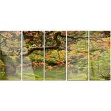 Design Art 'Japanese Garden Fall Season' Photograph Multi-Piece Image on Metal Metal in Brown/Green, Size 28.0 H x 60.0 W x 1.0 D in | Wayfair