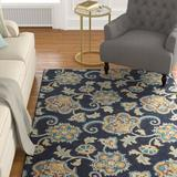 Alcott Hill® Oestreich Navy/Teal/Tan Area Rug Polyester in Blue/Brown/Navy, Size 96.0 H x 60.0 W x 0.31 D in | Wayfair ALTH5304 44036252