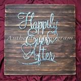 aMonogram Art Unlimited 'Happily Ever After Mounted on Rustic Wood Board' - Picture Frame Wood in Brown/Gray, Size 18.0 H x 18.0 W x 1.0 D in