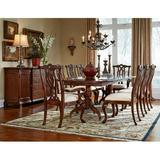 Astoria Grand Staas 9 Piece Dining Set Wood/Upholstered Chairs in Brown/Red, Size 26.0 H x 46.0 W x 76.0 D in | Wayfair