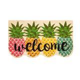 Brayden Studio® Gorski Pineapples Shaped Coir 27.5 in. x 15.75 in. Outdoor Door Mat Coir in Green/Pink/Yellow, Size 15.75 W x 27.5 D in | Wayfair
