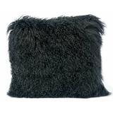 Brayden Studio® Ferrero Genuine Sheepskin Throw Pillow Polyester/Polyfill in Black, Size 15.75 H x 15.75 W x 5.0 D in | Wayfair