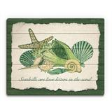 Click Wall Art Seashell Love Letters Graphic Art on Plaque Plastic/Acrylic in Brown/Green, Size 20.0 H x 30.0 W x 1.0 D in   Wayfair