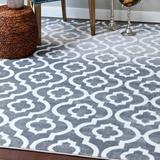 Charlton Home® Stimpson Geometric Area Rug Polypropylene in Gray, Size 126.0 H x 94.0 W x 0.75 D in | Wayfair CHRL7146 42547524
