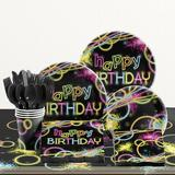 Creative Converting 81 Piece Glow Party Birthday Paper/Plastic Tableware Set in Black/Pink/Yellow | Wayfair DTC1858E2A