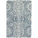 Dash and Albert Rugs Temple Oriental Hand Hooked Wool Blue/White Area Rug Wool in Blue/Brown/White, Size 96.0 H x 60.0 W x 0.25 D in | Wayfair
