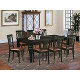 Darby Home Co Appel 9 - Piece Butterfly Leaf Rubberwood Solid Wood Dining SetWood/Upholstered Chairs in Black/Brown, Size 30.0 H in   Wayfair