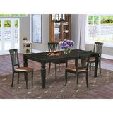 Darby Home Co Apfel 5 - Piece Butterfly Leaf Rubberwood Solid Wood Dining Set Wood/Upholstered Chairs in Black/Brown, Size 30.0 H in | Wayfair