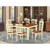 Darby Home Co Bellar 7 Piece Butterfly Leaf Rubberwood Solid Wood Dining Set Wood in White, Size 30.0 H in | Wayfair DABY5571 39638887