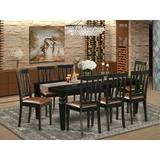 Darby Home Co Camille 9 - Piece Butterfly Leaf Rubberwood Solid Wood Dining Set Wood/Upholstered Chairs in Black/Brown, Size 30.0 H in | Wayfair