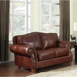"Darby Home Co Battista 72"" Genuine Leather Round Arm Loveseat Genuine Leather in Brown, Size 40.0 H x 72.0 W x 36.0 D in   Wayfair"