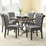 Darby Home Co Niall 7 - Piece Dining Set Wood/Plastic/Acrylic/Upholstered Chairs in Black/Brown/Gray, Size 30.0 H in | Wayfair DRBH1245 43444062
