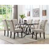Darby Home Co Niall 7 - Piece Dining Set Wood/Plastic/Acrylic/Upholstered Chairs in Black/Brown/Gray, Size 30.0 H in | Wayfair DRBH1245 43444063