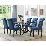 Darby Home Co Niall 7 - Piece Dining Set Wood/Plastic/Acrylic/Upholstered Chairs in Black/Brown/Gray, Size 30.0 H in | Wayfair DRBH1245 43444061
