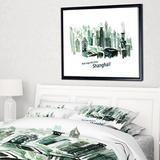 """East Urban Home 'Shanghai Vector Illustration' Framed Print on Wrapped Canvas, Canvas & Fabric in Brown/White, Size 32"""" H x 42"""" W x 1.5"""" D 