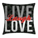 East Urban Home Live Laugh Love Antique Damask Square Pillow Cover Polyester/Polyester blend in Black, Size 20.0 H x 20.0 W x 2.0 D in   Wayfair