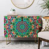 East Urban Home Lisa Argyropoulos Inspire Oceana 2 Door Accent Cabinet Wood in Blue/Brown/Green, Size 38.0 H x 38.0 W x 20.0 D in | Wayfair