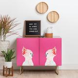 East Urban Home Hello Sayang Hello Polly Credenza Wood in Brown/Yellow, Size 30.0 H x 38.0 W x 20.0 D in | Wayfair EUNM4882 46073291