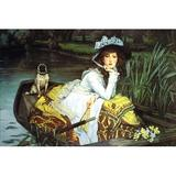 Buyenlarge 'Young Woman Looking in a Boat' by Tissot Painting Print in Brown/Green/Yellow, Size 24.0 H x 36.0 W x 1.5 D in   Wayfair