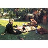 Buyenlarge 'In the Sun' by James Tissot Painting Print in Brown/Green/Yellow, Size 44.0 H x 66.0 W x 1.5 D in   Wayfair 0-587-25554-4C4466